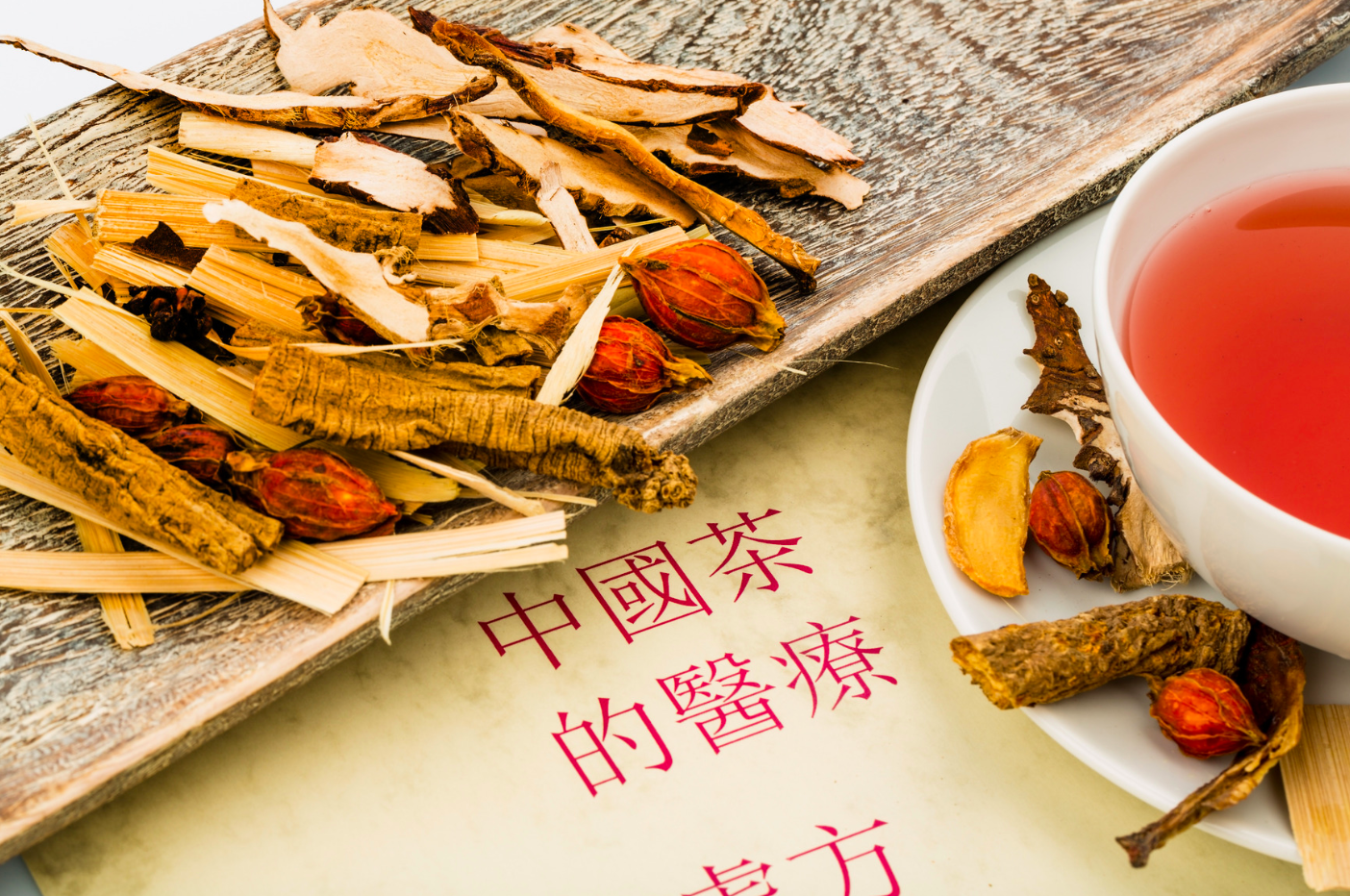 colorful Chinese herbs arrange artfully on table